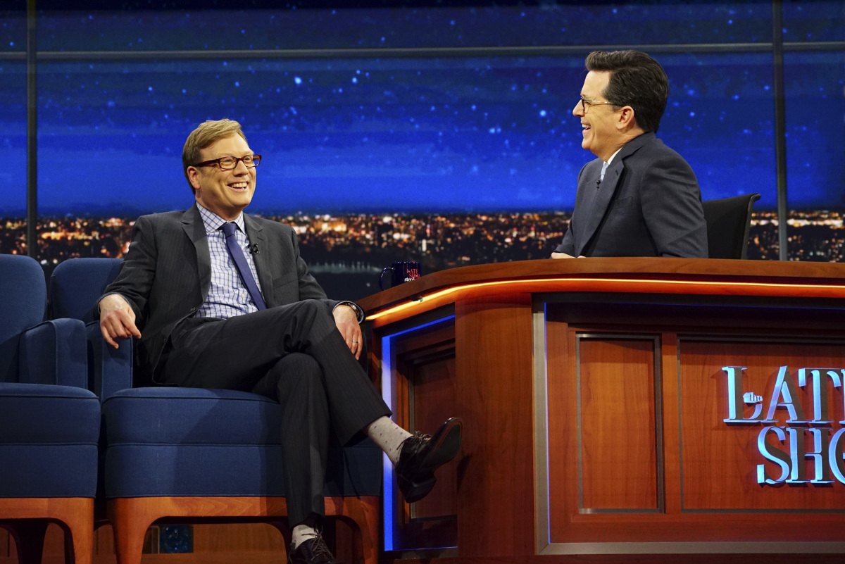 The Late Show with Stephen Colbert on Tuesday, March 21, 2017 with guest Andy Daly Photo: Mary Kouw/CBS ©2017 CBS Broadcasting Inc. All Rights Reserved