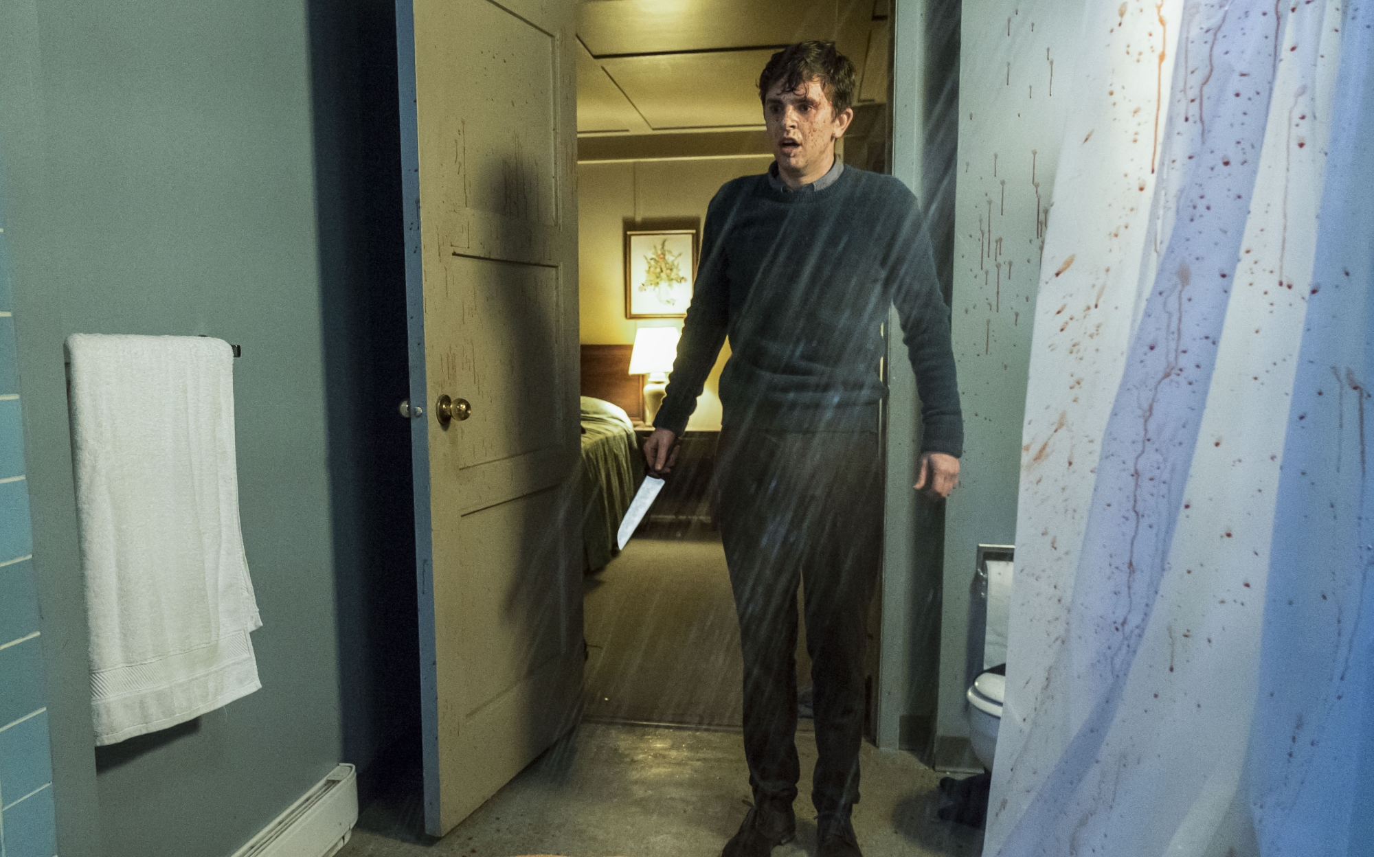 "Freddie Highmore stars as Norman Bates in A&E's ""Bates Motel"" Photo by Cate Cameron Copyright 2017"