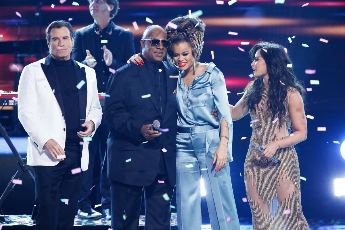 "Music stars Andra Day, Celine Dion, DNCE, Nick Jonas, Tori Kelly, Little Big Town, Demi Lovato, Katharine McPhee, Panic! at the Disco, Pentatonix, Ed Sheeran, Keith Urban, Kelsea Ballerini & Thomas Rhett, Jason Derulo & Tavares, John Legend & Stevie Wonder and Barry Gibb celebrate the Bee Gees' remarkable music catalog on, ""STAYIN' ALIVE: A GRAMMY® SALUTE TO THE MUSIC OF THE BEE GEES,"" Sunday, April, 16 (8:00-10:00 PM, ET/ PT) on the CBS Television Network. Pictured L-R: John Travolta, Stevie Wonder, Andra Day, and Demi Lovato Photo: Monty Brinton/CBS ©2017 CBS Broadcasting, Inc. All Rights Reserved"