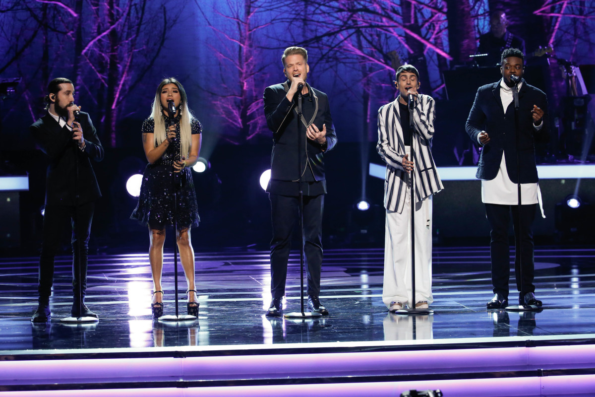 "Music stars Andra Day, Celine Dion, DNCE, Nick Jonas, Tori Kelly, Little Big Town, Demi Lovato, Katharine McPhee, Panic! at the Disco, Pentatonix, Ed Sheeran, Keith Urban, Kelsea Ballerini & Thomas Rhett, Jason Derulo & Tavares, John Legend & Stevie Wonder and Barry Gibb celebrate the Bee Gees' remarkable music catalog on, ""STAYIN' ALIVE: A GRAMMY® SALUTE TO THE MUSIC OF THE BEE GEES,"" Sunday, April, 16 (8:00-10:00 PM, ET/ PT) on the CBS Television Network. Pictured: Pentatonix Photo: Monty Brinton/CBS ©2017 CBS Broadcasting, Inc. All Rights Reserved"