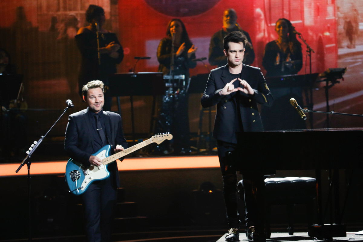 "Music stars Andra Day, Celine Dion, DNCE, Nick Jonas, Tori Kelly, Little Big Town, Demi Lovato, Katharine McPhee, Panic! at the Disco, Pentatonix, Ed Sheeran, Keith Urban, Kelsea Ballerini & Thomas Rhett, Jason Derulo & Tavares, John Legend & Stevie Wonder and Barry Gibb celebrate the Bee Gees' remarkable music catalog on, ""STAYIN' ALIVE: A GRAMMY® SALUTE TO THE MUSIC OF THE BEE GEES,"" Sunday, April, 16 (8:00-10:00 PM, ET/ PT) on the CBS Television Network. Pictured: Panic! at the Disco Photo: Monty Brinton/CBS ©2017 CBS Broadcasting, Inc. All Rights Reserved"