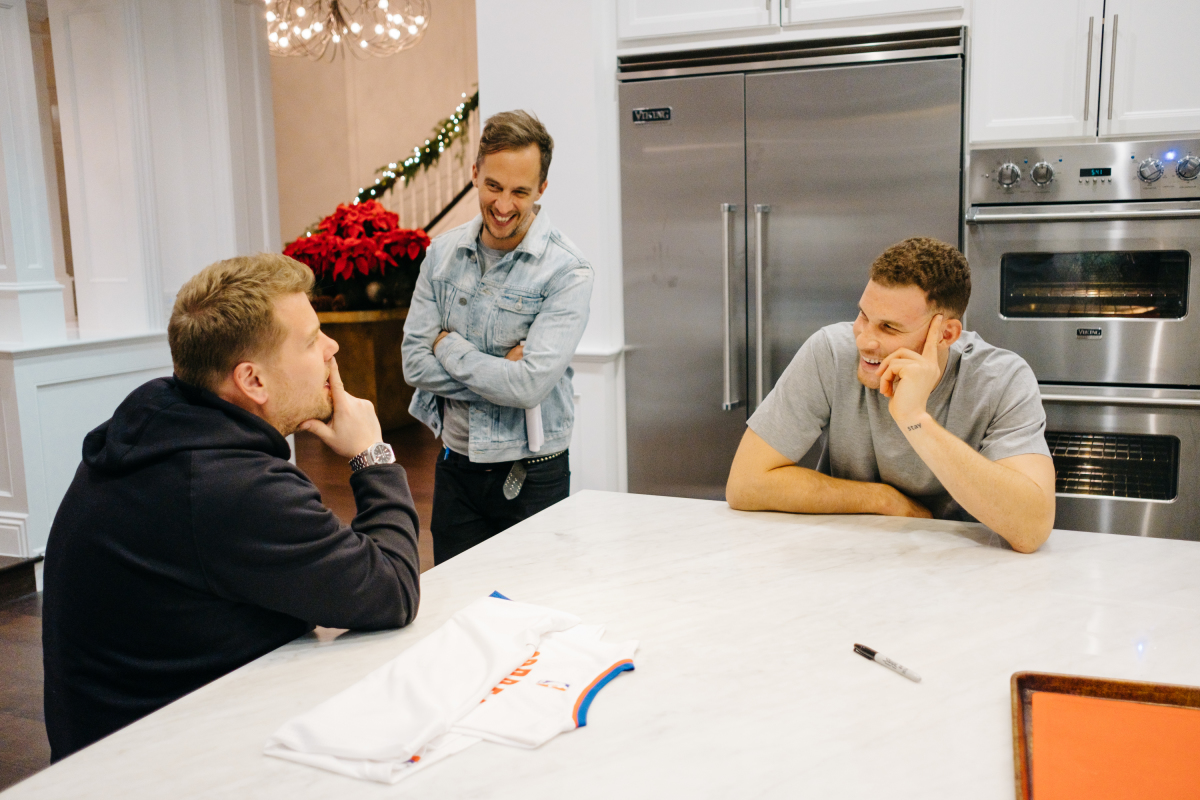 """Blake Griffin chats with James Corden and producer James Longman during filming of """"A Day In The Life with Blake Griffin"""" during """"The Late Late Show with James Corden,"""" Monday, March 13, 2017 (12:35 PM-1:37 AM ET/PT) On The CBS Television Network. Photo: Terence Patrick/CBS ©2016 CBS Broadcasting, Inc. All Rights Reserved"""