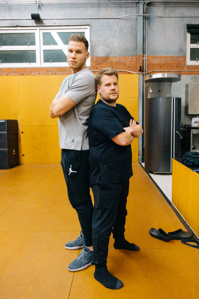 """Blake Griffin poses with James Corden while filming """"A Day In The Life with Blake Griffin"""" during """"The Late Late Show with James Corden,"""" Monday, March 13, 2017 (12:35 PM-1:37 AM ET/PT) On The CBS Television Network. Photo: Terence Patrick/CBS ©2016 CBS Broadcasting, Inc. All Rights Reserved"""