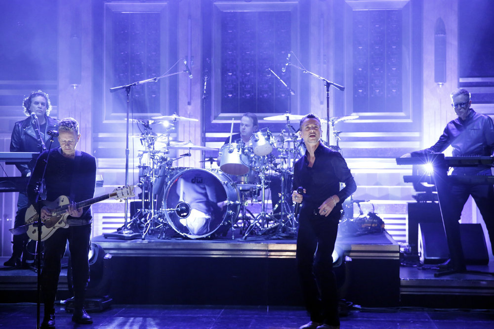 THE TONIGHT SHOW STARRING JIMMY FALLON -- Episode 0634 -- Pictured: Musical guest Depeche Mode performs on March 1, 2017 -- (Photo by: Andrew Lipovsky/NBC)