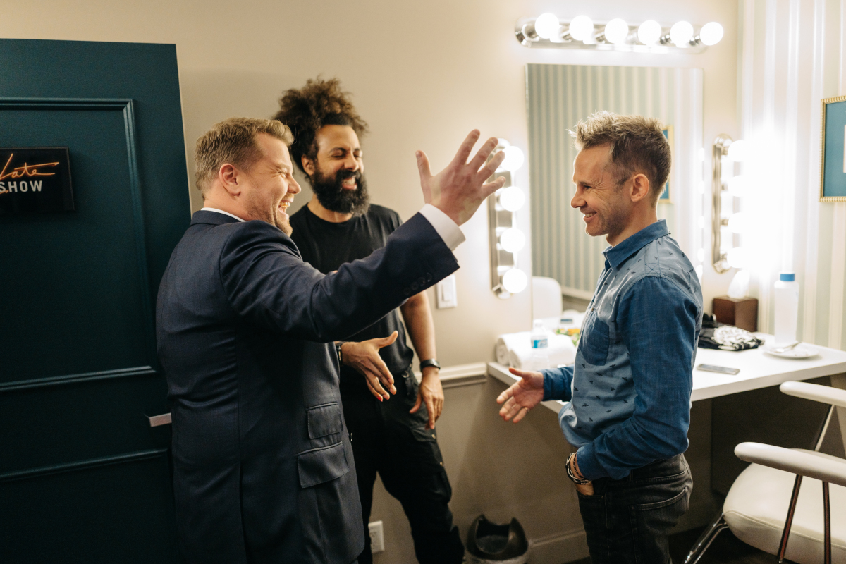 """Dominic Monaghan chats with James Corden and Reggie Watts during """"The Late Late Show with James Corden,"""" Monday, March 13, 2017 (12:35 PM-1:37 AM ET/PT) On The CBS Television Network. Photo: Terence Patrick/CBS ©2017 CBS Broadcasting, Inc. All Rights Reserved"""