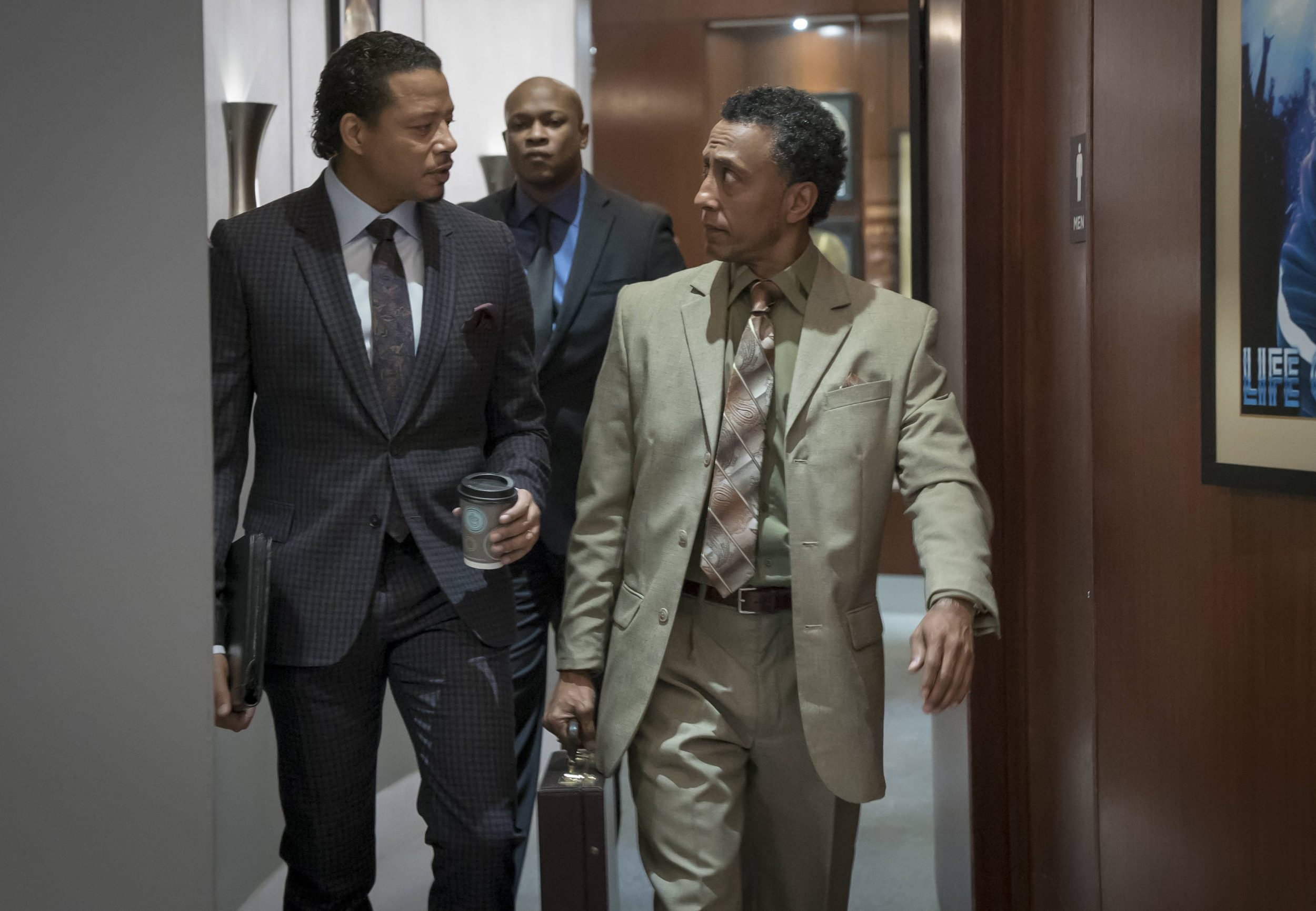 """EMPIRE: Pictured L-R: Terrence Howard, guest stars Web and Andre Royo in the """"Sound & Fury"""" spring premiere episode of EMPIRE airing Wednesday, March 22 (9:00-10:00 PM ET/PT) on FOX. ©2017 Fox Broadcasting Co. CR: Chuck Hodes/FOX"""