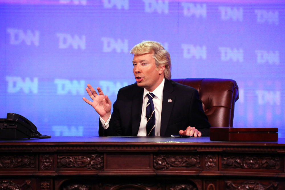 """THE TONIGHT SHOW STARRING JIMMY FALLON -- Episode 0634 -- Pictured: Host Jimmy Fallon as President Donald Trump during the """"Trump News Network"""" Cold Open on March 1, 2017 -- (Photo by: Andrew Lipovsky/NBC)"""