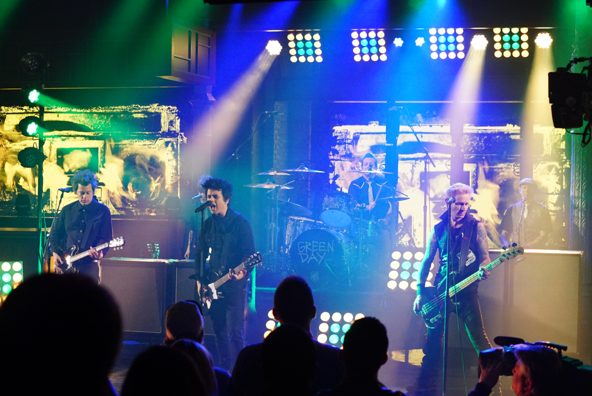 The Late Show with Stephen Colbert on Tuesday, March 21, 2017 with musical performance by Green Day (n) Photo: Mary Kouw/CBS ©2017 CBS Broadcasting Inc. All Rights Reserved