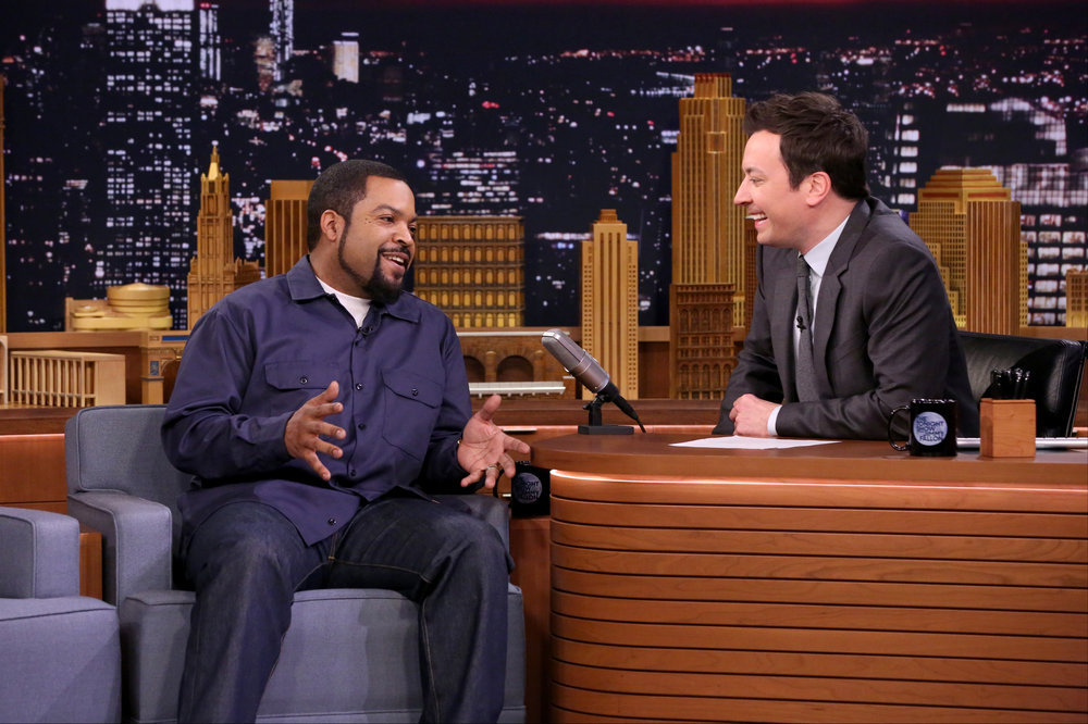 THE TONIGHT SHOW STARRING JIMMY FALLON -- Episode 0639 -- Pictured: (l-r) Rapper Ice Cube during an interview with host Jimmy Fallon on March 15, 2017 -- (Photo by: Andrew Lipovsky/NBC)
