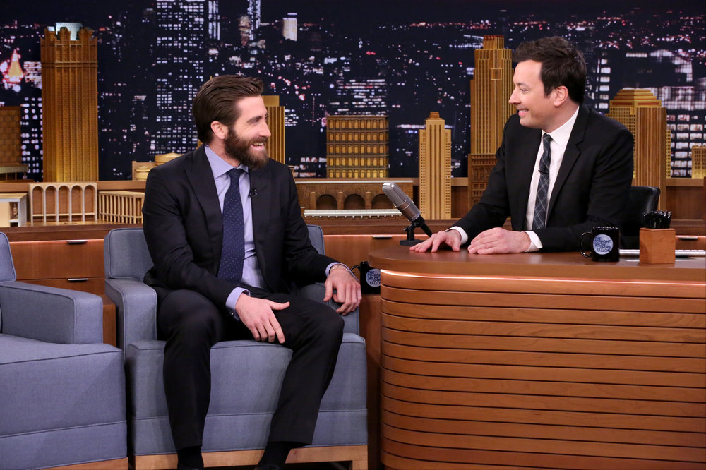 THE TONIGHT SHOW STARRING JIMMY FALLON -- Episode 0642 -- Pictured: (l-r) Actor Jake Gyllenhaal during an interview with host Jimmy Fallon on March 20, 2017 -- (Photo by: Andrew Lipovsky/NBC)