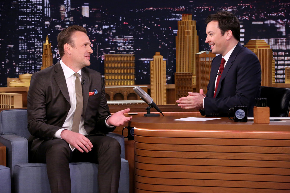 THE TONIGHT SHOW STARRING JIMMY FALLON -- Episode 0648 -- Pictured: (l-r) Actor Jason Segel during an interview with host Jimmy Fallon on March 28, 2017 -- (Photo by: Andrew Lipovsky/NBC)