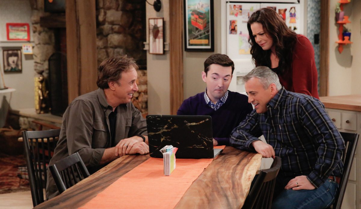 """The A Team"" -- Adam and Andi are shocked when they finally meet Lowell's wife, Jen (Jenna Dewan Tatum), on MAN WITH A PLAN, Monday, March 13 (8:30-9:00 PM, ET/PT) on the CBS Television Network. Picture (L-R) Kevin Nealon as Don Burns, Matt Cook as Lowell, Liza Snyder as Liza Snyder and Matt LeBlanc as Adam Burns Photo: Cliff Lipson/CBS ©2017 CBS Broadcasting, Inc. All Rights Reserved"