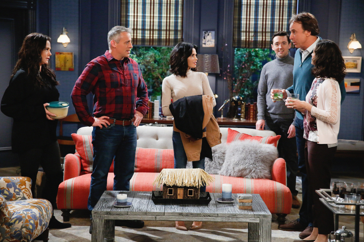 """The A Team"" -- Adam and Andi are shocked when they finally meet Lowell's wife, Jen (Jenna Dewan Tatum), on MAN WITH A PLAN, Monday, March 13 (8:30-9:00 PM, ET/PT) on the CBS Television Network. Pictured (L-R) Liza Snyder as Andi Burns, Matt LeBlanc as Adam Burns, Jenna Dewan Tatum as Jen, Matt Cook as Lowell, Kevin Nealon as Don Burns and Kali Rocha as Marcy Burns Photo: Cliff Lipson/CBS ©2017 CBS Broadcasting, Inc. All Rights Reserved"