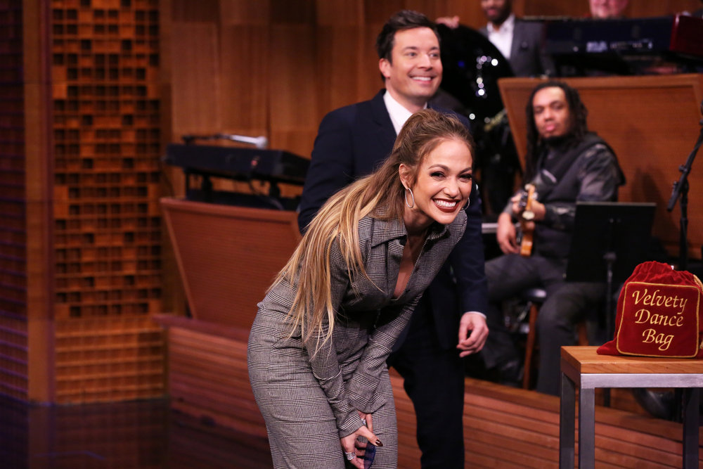 THE TONIGHT SHOW STARRING JIMMY FALLON -- Episode 0634 -- Pictured: (l-r) Actress Jennifer Lopez and host Jimmy Fallon during a Dance Battle on March 1, 2017 -- (Photo by: Andrew Lipovsky/NBC)
