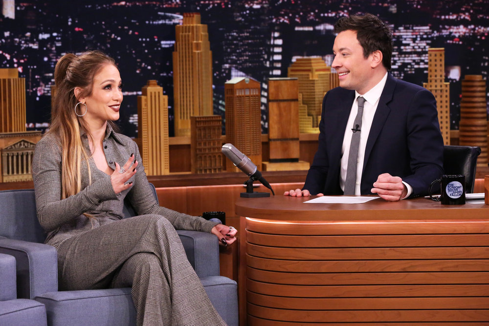 THE TONIGHT SHOW STARRING JIMMY FALLON -- Episode 0634 -- Pictured: (l-r) Actress Jennifer Lopez during an interview with host Jimmy Fallon on March 1, 2017 -- (Photo by: Andrew Lipovsky/NBC)