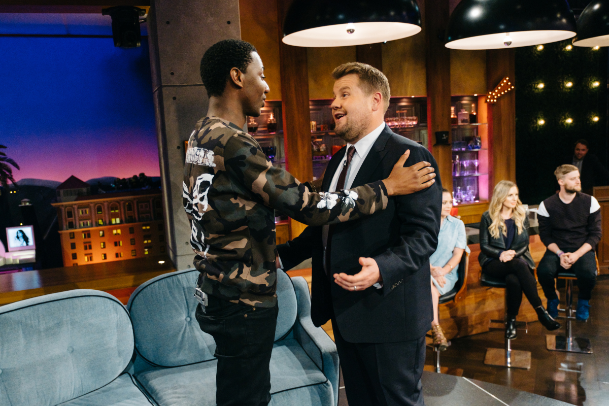 "Jerrod Carmichael chats with James Corden during ""The Late Late Show with James Corden,"" Tuesday, March 14, 2017 (12:35 PM-1:37 AM ET/PT) On The CBS Television Network. Photo: Terence Patrick/CBS ©2017 CBS Broadcasting, Inc. All Rights Reserved"