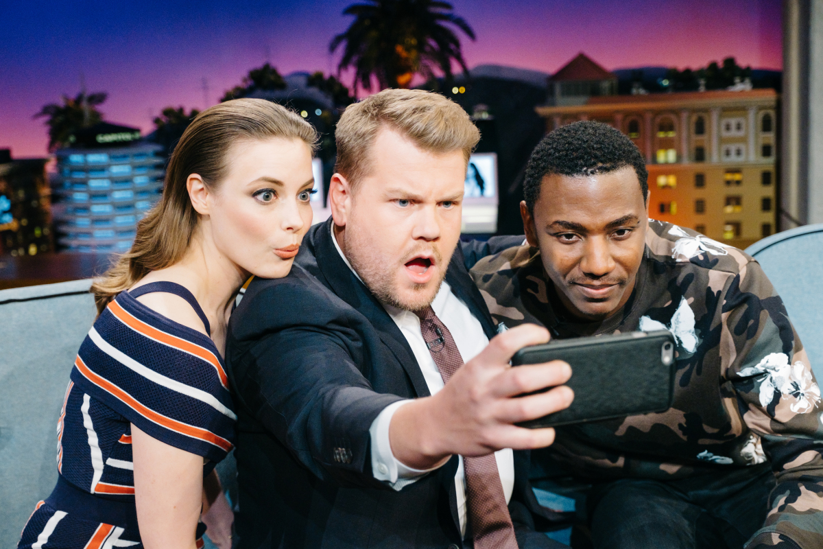 "Gillian Jacobs and Jerrod Carmichael chat with James Corden during ""The Late Late Show with James Corden,"" Tuesday, March 14, 2017 (12:35 PM-1:37 AM ET/PT) On The CBS Television Network. Photo: Terence Patrick/CBS ©2017 CBS Broadcasting, Inc. All Rights Reserved"