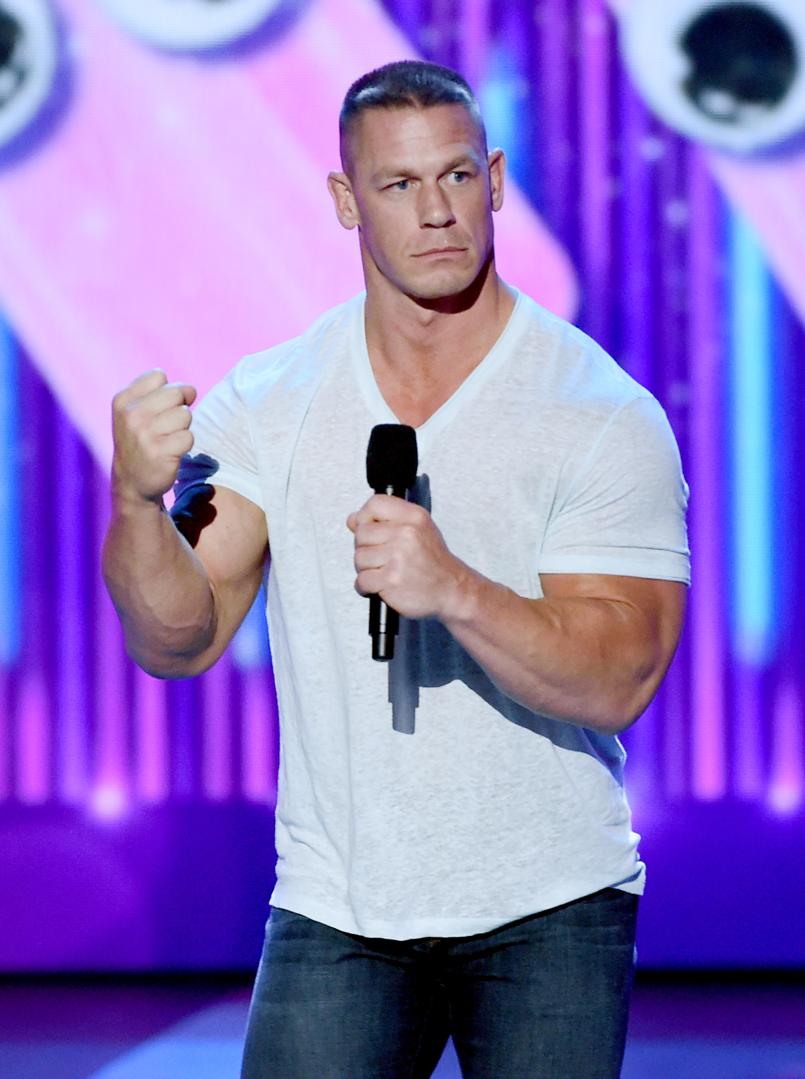 LOS ANGELES, CA - MARCH 11:  Host John Cena speaks onstage at Nickelodeon's 2017 Kids' Choice Awards at USC Galen Center on March 11, 2017 in Los Angeles, California.  (Photo by Kevin Winter/Getty Images - Issued to Media by Nickelodeon)