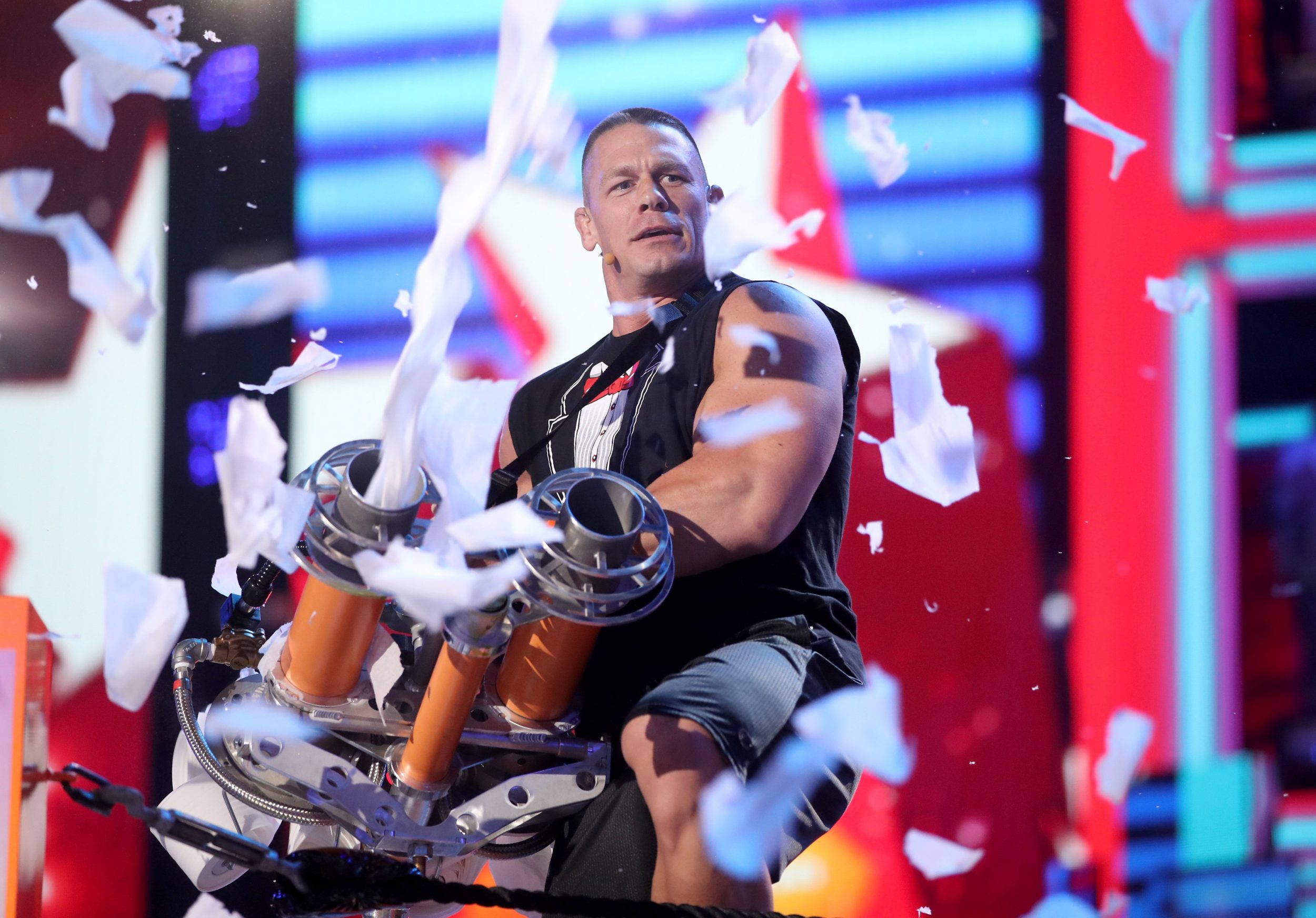 LOS ANGELES, CA - MARCH 11:  Host John Cena appears onstage at Nickelodeon's 2017 Kids' Choice Awards at USC Galen Center on March 11, 2017 in Los Angeles, California.  (Photo by Chris Polk/KCA2017/Getty Images for Nickelodeon)