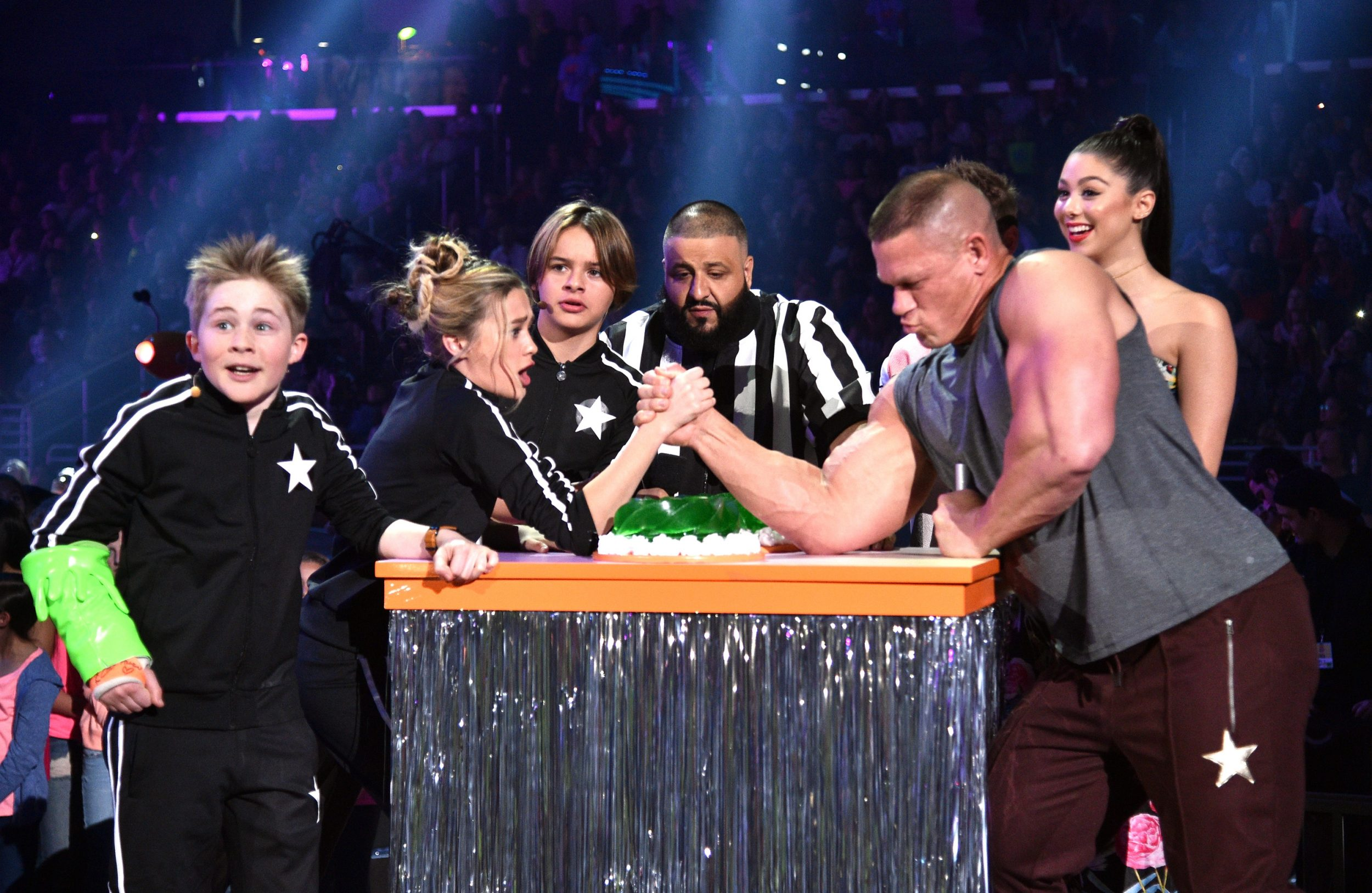LOS ANGELES, CA - MARCH 11:  The cast of Nicky, Ricky, Dicky & Dawn armwrestle with host John Cena onstage with Dj Khaled at Nickelodeon's 2017 Kids' Choice Awards at USC Galen Center on March 11, 2017 in Los Angeles, California.  (Photo by Kevin Mazur/KCA2017/WireImage - Issued to Media by Nickelodeon)