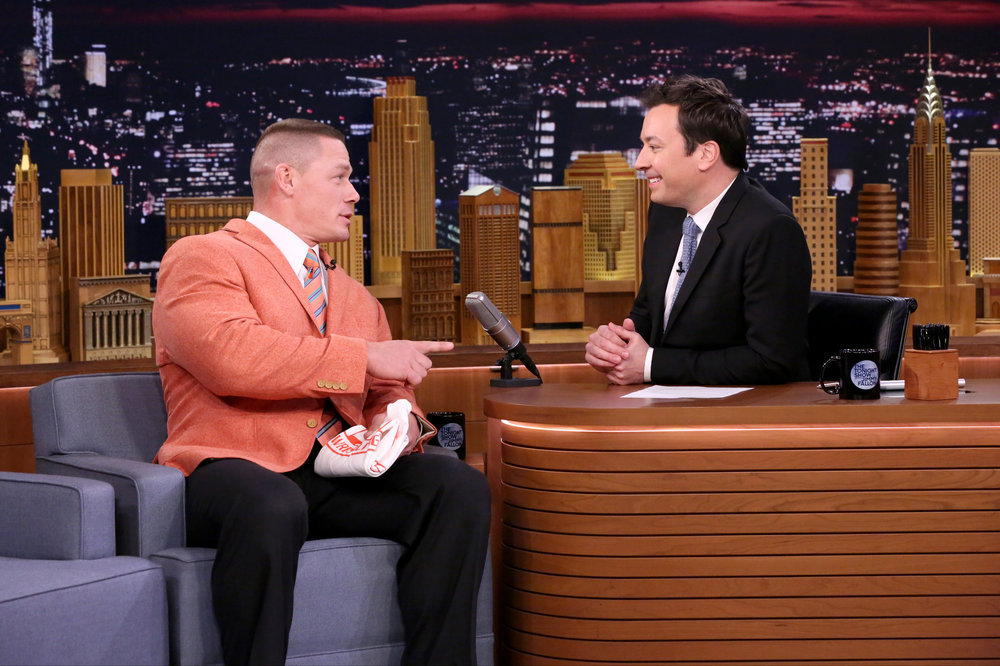 THE TONIGHT SHOW STARRING JIMMY FALLON -- Episode 0644 -- Pictured: (l-r) Professional wrestler John Cena during an interview with host Jimmy Fallon on March 22, 2017 -- (Photo by: Andrew Lipovsky/NBC)