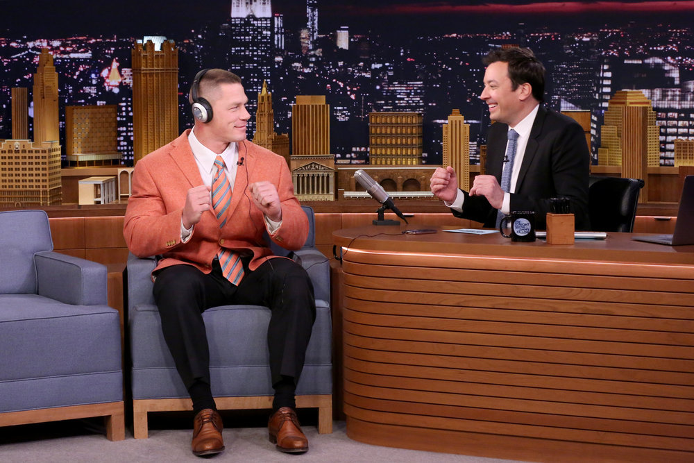 "THE TONIGHT SHOW STARRING JIMMY FALLON -- Episode 0644 -- Pictured: (l-r) Professional wrestler John Cena and host Jimmy Fallon play ""Whisper Challenge"" on March 22, 2017 -- (Photo by: Andrew Lipovsky/NBC)"