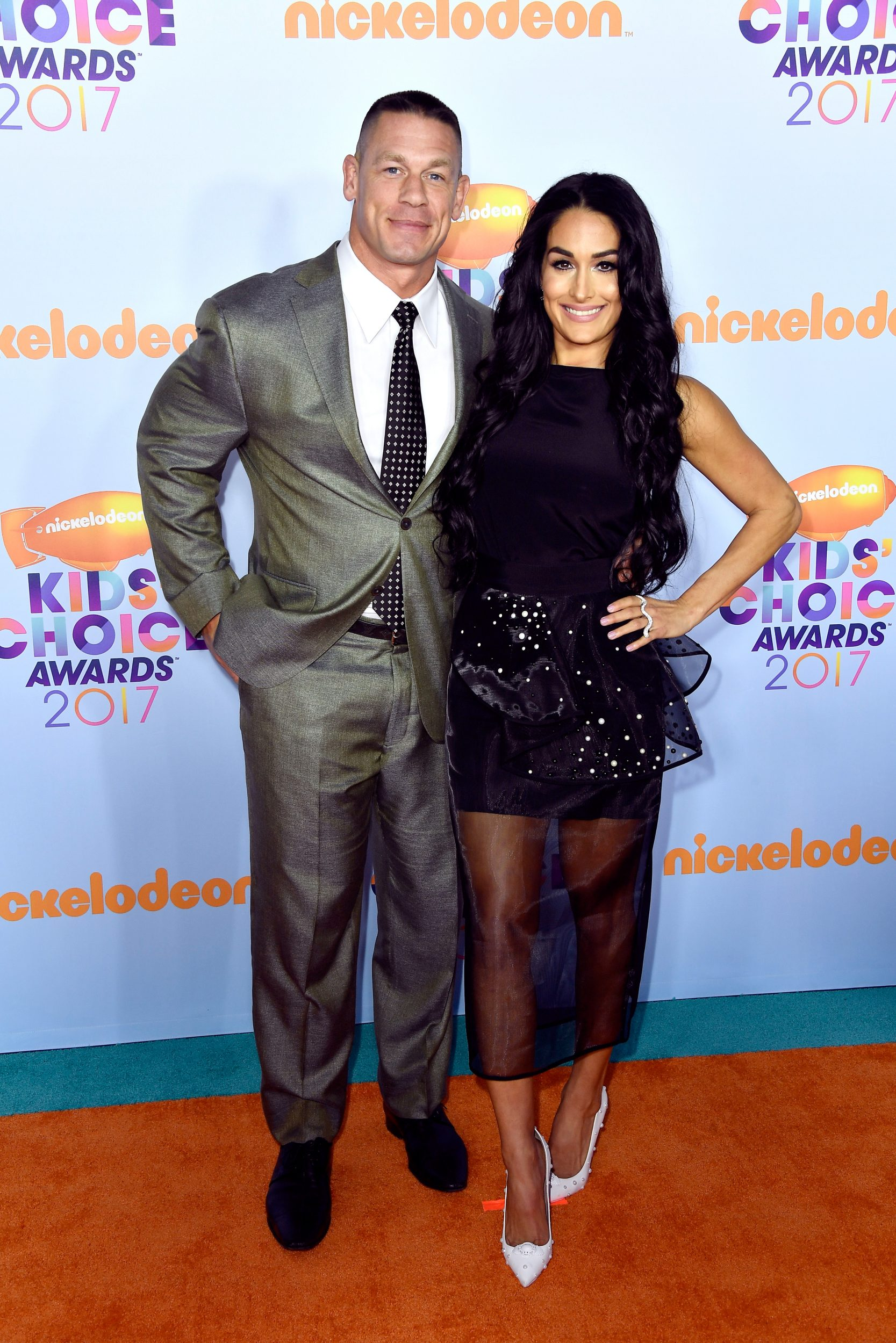 LOS ANGELES, CA - MARCH 11:  Host John Cena and Nikki Bella at Nickelodeon's 2017 Kids' Choice Awards at USC Galen Center on March 11, 2017 in Los Angeles, California.  (Photo by Frazer Harrison/Getty Images - Issued to Media by Nickelodeon)