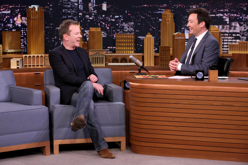 THE TONIGHT SHOW STARRING JIMMY FALLON -- Episode 0637 -- Pictured: (l-r) Actor Kiefer Sutherland during an interview with host Jimmy Fallon on March 13, 2017 -- (Photo by: Andrew Lipovsky/NBC)