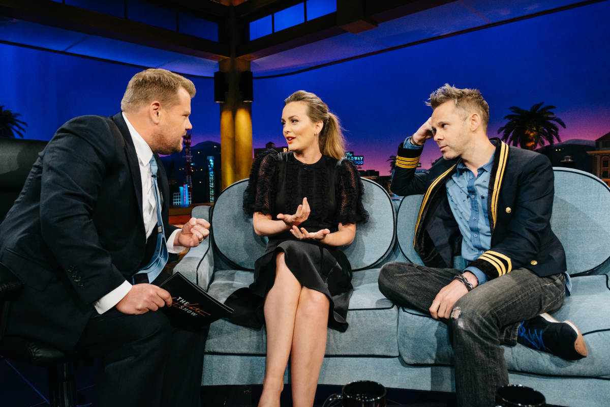 """Leighton Meester and Dominic Monaghan chat with James Corden during """"The Late Late Show with James Corden,"""" Monday, March 13, 2017 (12:35 PM-1:37 AM ET/PT) On The CBS Television Network. Photo: Terence Patrick/CBS ©2017 CBS Broadcasting, Inc. All Rights Reserved"""