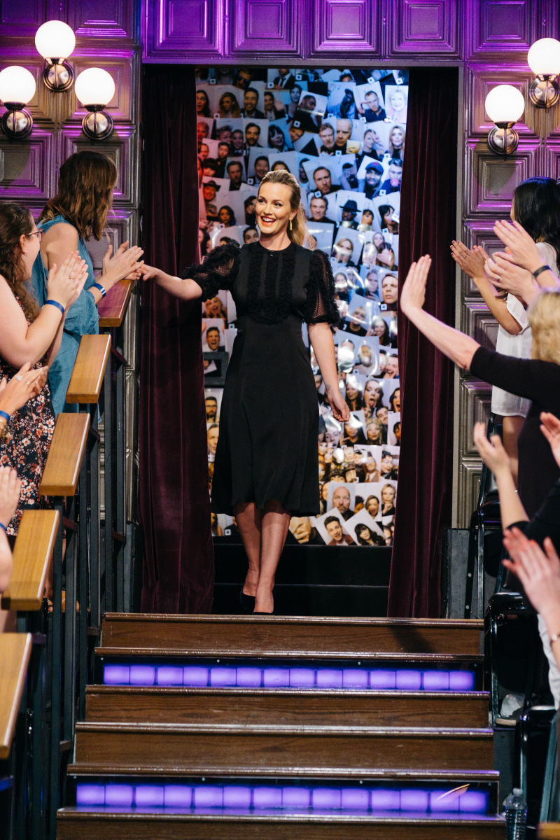 """Leighton Meester greets the audience during """"The Late Late Show with James Corden,"""" Monday, March 13, 2017 (12:35 PM-1:37 AM ET/PT) On The CBS Television Network. Photo: Terence Patrick/CBS ©2017 CBS Broadcasting, Inc. All Rights Reserved"""