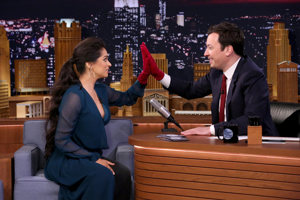 THE TONIGHT SHOW STARRING JIMMY FALLON -- Episode 0648 -- Pictured: (l-r) YouTube personality Lilly Singh during an interview with host Jimmy Fallon on March 28, 2017 -- (Photo by: Andrew Lipovsky/NBC)
