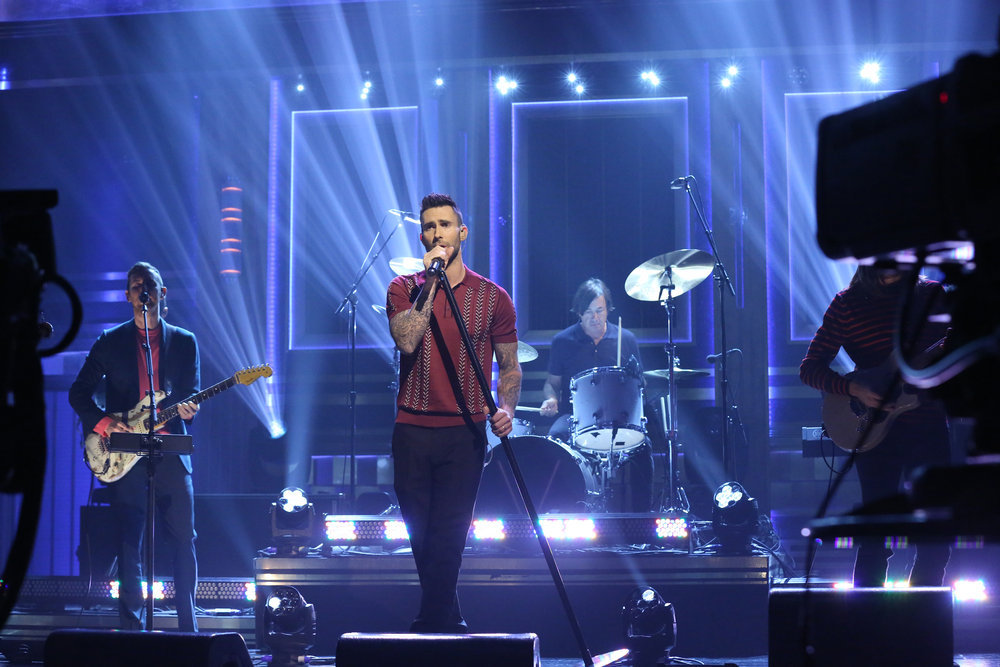 THE TONIGHT SHOW STARRING JIMMY FALLON -- Episode 639 -- Pictured: (l-r) Jesse Carmichael and Adam Levine of musical guest Maroon 5 perform on March 14, 2017 -- (Photo by: Andrew Lipovsky/NBC)