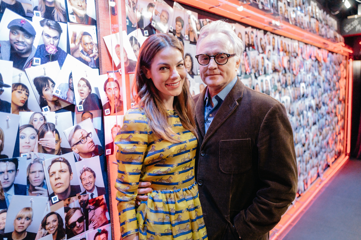 "Michelle Monaghan and Bradley Whitford backstage during ""The Late Late Show with James Corden,"" Tuesday, February 28, 2017 (12:35 PM-1:37 AM ET/PT) On The CBS Television Network. Photo: Terence Patrick/CBS ©2017 CBS Broadcasting, Inc. All Rights Reserved"