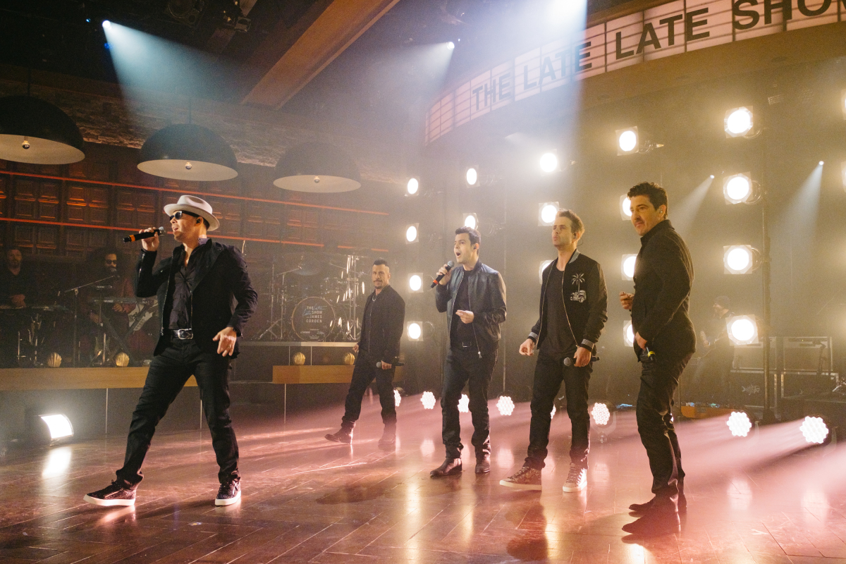 """New Kids On The Block perform during """"The Late Late Show with James Corden,"""" Monday, March 6, 2017 (12:35 PM-1:37 AM ET/PT) On The CBS Television Network. Photo: Terence Patrick/CBS ©2017 CBS Broadcasting, Inc. All Rights Reserved"""