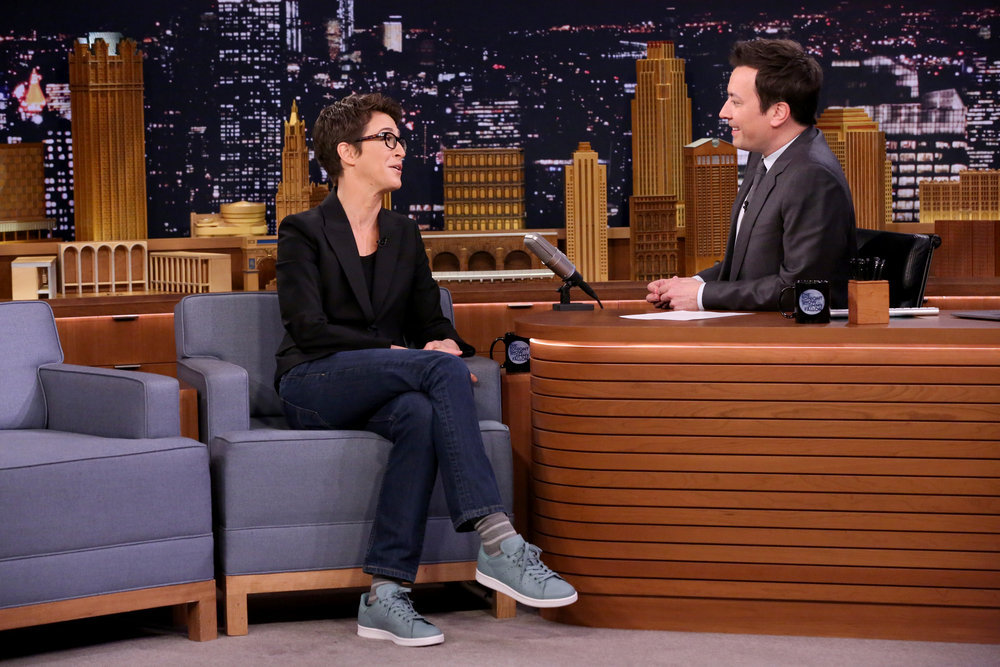 THE TONIGHT SHOW STARRING JIMMY FALLON -- Episode 0639 -- Pictured: (l-r) MSNBC television host Rachel Maddow during an interview with host Jimmy Fallon on March 15, 2017 -- (Photo by: Andrew Lipovsky/NBC)