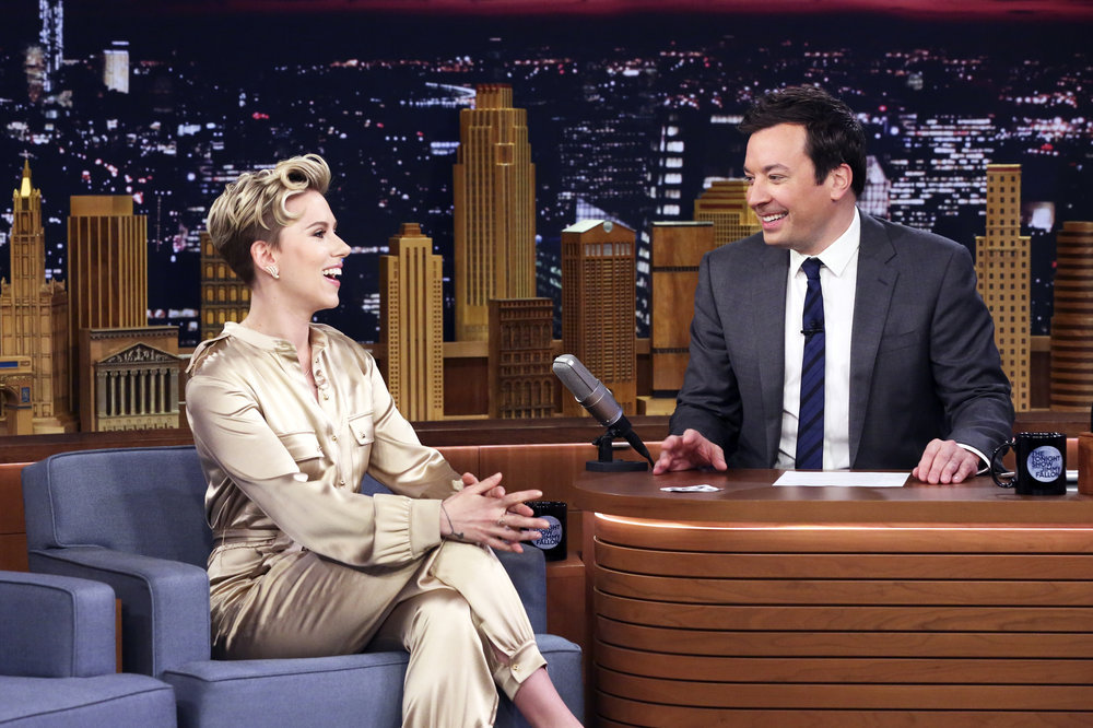 THE TONIGHT SHOW STARRING JIMMY FALLON -- Episode 0647 -- Pictured: (l-r) Actress Scarlett Johansson during an interview with host Jimmy Fallon on March 27, 2017 -- (Photo by: Andrew Lipovsky/NBC)