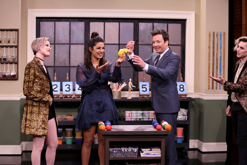 THE TONIGHT SHOW STARRING JIMMY FALLON -- Episode 0637 -- Pictured: (l-r) Musical guest Evan Rachel Wood, actress Priyanka Chopra, host Jimmy Fallon and musical guest Zach Villa play tandem sculptionary on March 13, 2017 -- (Photo by: Andrew Lipovsky/NBC)