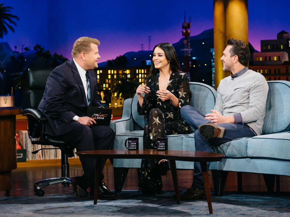 "Vanessa Hudgens and Thomas Sadoski chat with James Corden during ""The Late Late Show with James Corden,"" Thursday, March 16, 2017 (12:35 PM-1:37 AM ET/PT) On The CBS Television Network. Photo: Terence Patrick/CBS ©2017 CBS Broadcasting, Inc. All Rights Reserved"