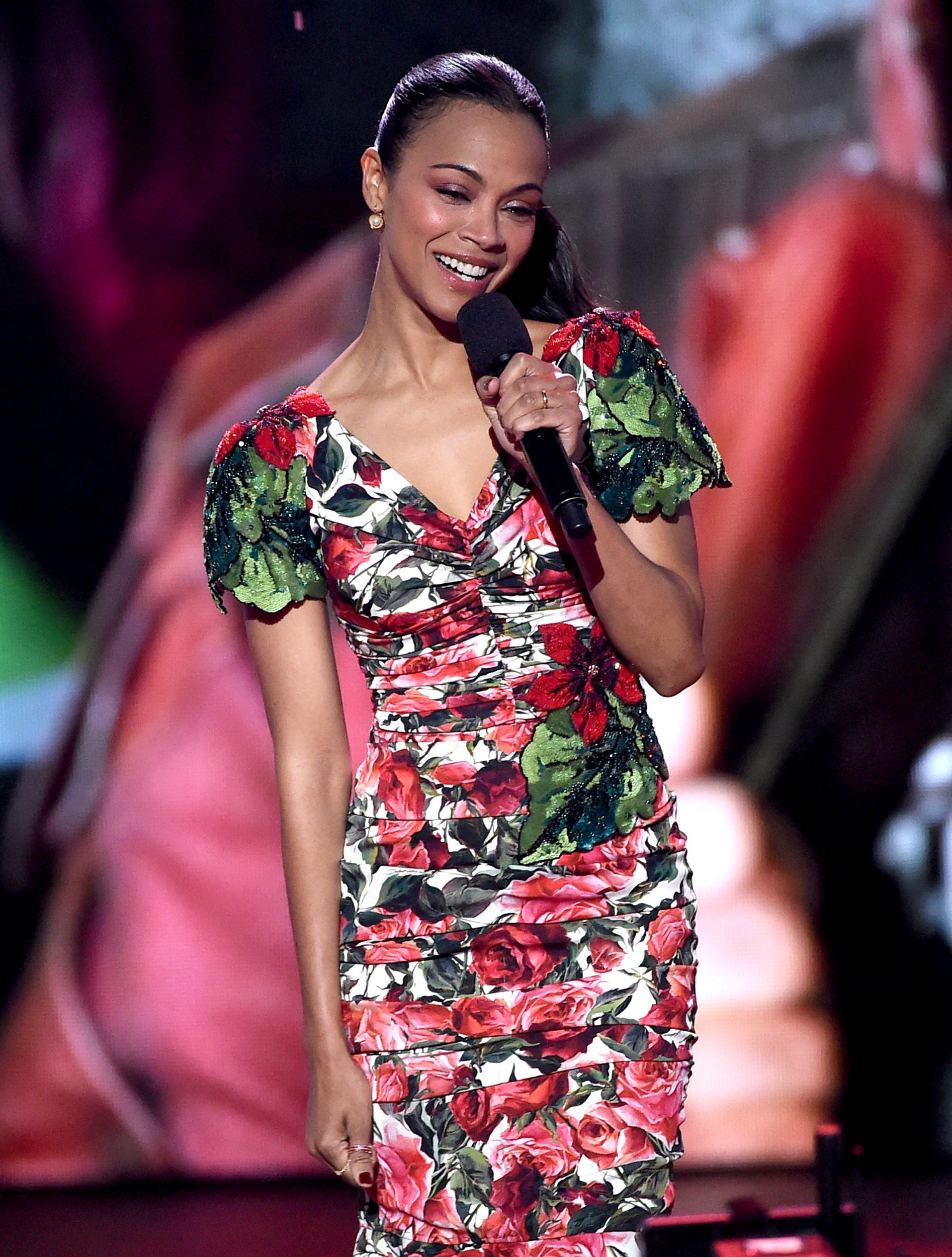 LOS ANGELES, CA - MARCH 11:  Actor Zoe Saldana appears onstage at Nickelodeon's 2017 Kids' Choice Awards at USC Galen Center on March 11, 2017 in Los Angeles, California.  (Photo by Kevin Winter/Getty Images - Issued to Media by Nickelodeon)