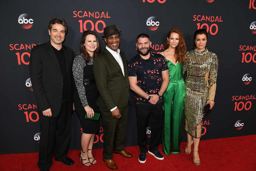 "SCANDAL - The cast of ""Scandal"" attended a 100th episode celebration in West Hollywood, CA. The 100th episode, entitled ""The Decision,"" airs THURSDAY, APRIL 13 (9:01-10:00 p.m. EST), on the ABC Television Network. (ABC/Todd Wawrychuk) JON TENNEY, KATIE LOWES, JOE MORTON, GUILLERMO DIAZ, DARBY STANCHFIELD, BELLAMY YOUNG"