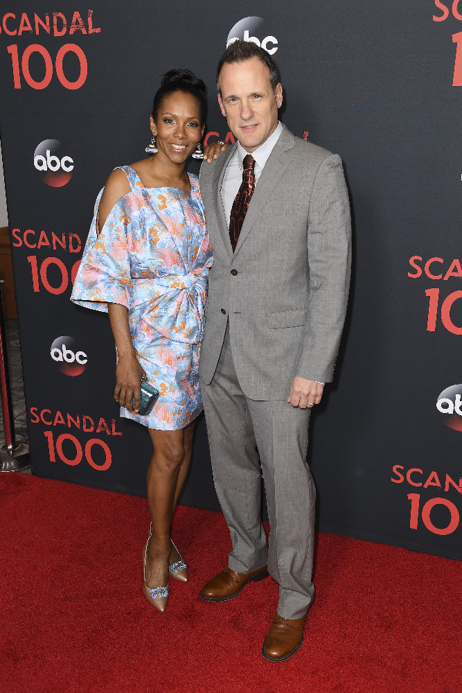 "SCANDAL - The cast of ""Scandal"" attended a 100th episode celebration in West Hollywood, CA. The 100th episode, entitled ""The Decision,"" airs THURSDAY, APRIL 13 (9:01-10:00 p.m. EST), on the ABC Television Network. (ABC/Todd Wawrychuk) KIRA ARNE, TOM VERICA"