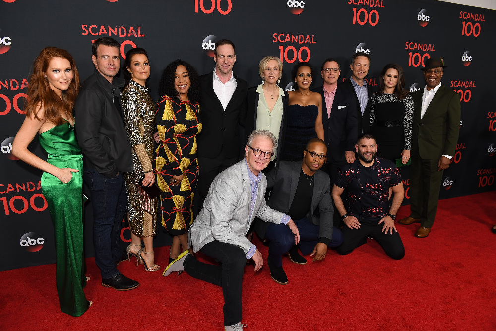 "SCANDAL - The cast of ""Scandal"" attended a 100th episode celebration in West Hollywood, CA. The 100th episode, entitled ""The Decision,"" airs THURSDAY, APRIL 13 (9:01-10:00 p.m. EST), on the ABC Television Network. (ABC/Todd Wawrychuk) DARBY STANCHFIELD, SCOTT FOLEY, BELLAMY YOUNG, SHONDA RHIMES, PATRICK MORAN (PRESIDENT, ABC STUDIOS), JEFF PERRY, BETSY BEERS, KERRY WASHINGTON, CORNELIUS SMITH, JR., JOSHUA MALINA, GEORGE NEWBERN, GUILLERMO DIAZ, KATIE LOWES, JOE MORTON"
