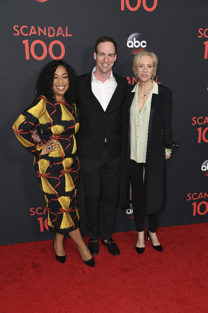 "SCANDAL - The cast of ""Scandal"" attended a 100th episode celebration in West Hollywood, CA. The 100th episode, entitled ""The Decision,"" airs THURSDAY, APRIL 13 (9:01-10:00 p.m. EST), on the ABC Television Network. (ABC/Todd Wawrychuk) SHONDA RHIMES, PATRICK MORAN (PRESIDENT, ABC STUDIOS), BETSY BEERS"