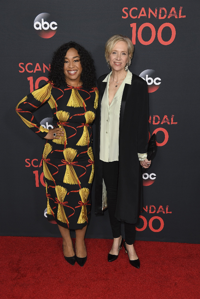 "SCANDAL - The cast of ""Scandal"" attended a 100th episode celebration in West Hollywood, CA. The 100th episode, entitled ""The Decision,"" airs THURSDAY, APRIL 13 (9:01-10:00 p.m. EST), on the ABC Television Network. (ABC/Todd Wawrychuk) SHONDA RHIMES, BETSY BEERS"