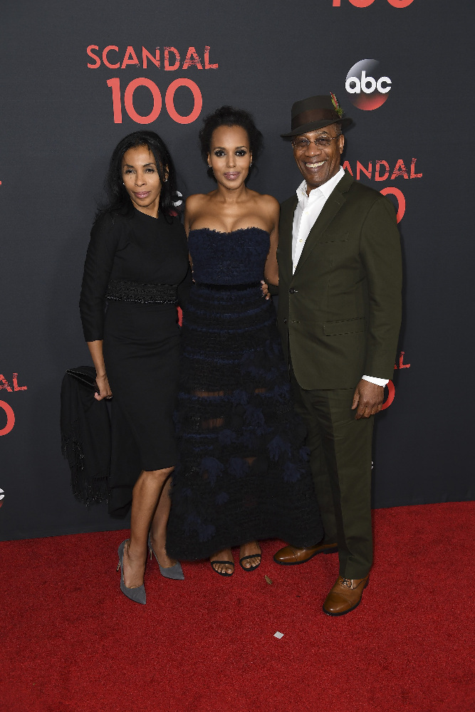 "SCANDAL - The cast of ""Scandal"" attended a 100th episode celebration in West Hollywood, CA. The 100th episode, entitled ""The Decision,"" airs THURSDAY, APRIL 13 (9:01-10:00 p.m. EST), on the ABC Television Network. (ABC/Todd Wawrychuk) KHANDI ALEXANDER, KERRY WASHINGTON, JOE MORTON"