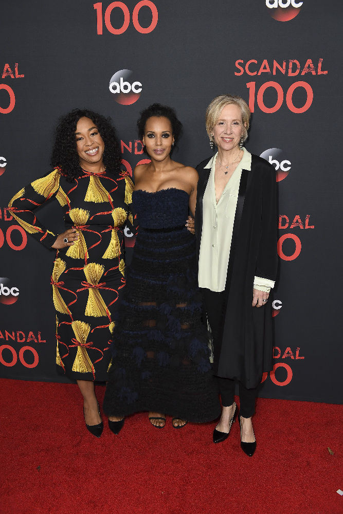 "SCANDAL - The cast of ""Scandal"" attended a 100th episode celebration in West Hollywood, CA. The 100th episode, entitled ""The Decision,"" airs THURSDAY, APRIL 13 (9:01-10:00 p.m. EST), on the ABC Television Network. (ABC/Todd Wawrychuk) SHONDA RHIMES, KERRY WASHINGTON, BETSY BEERS"