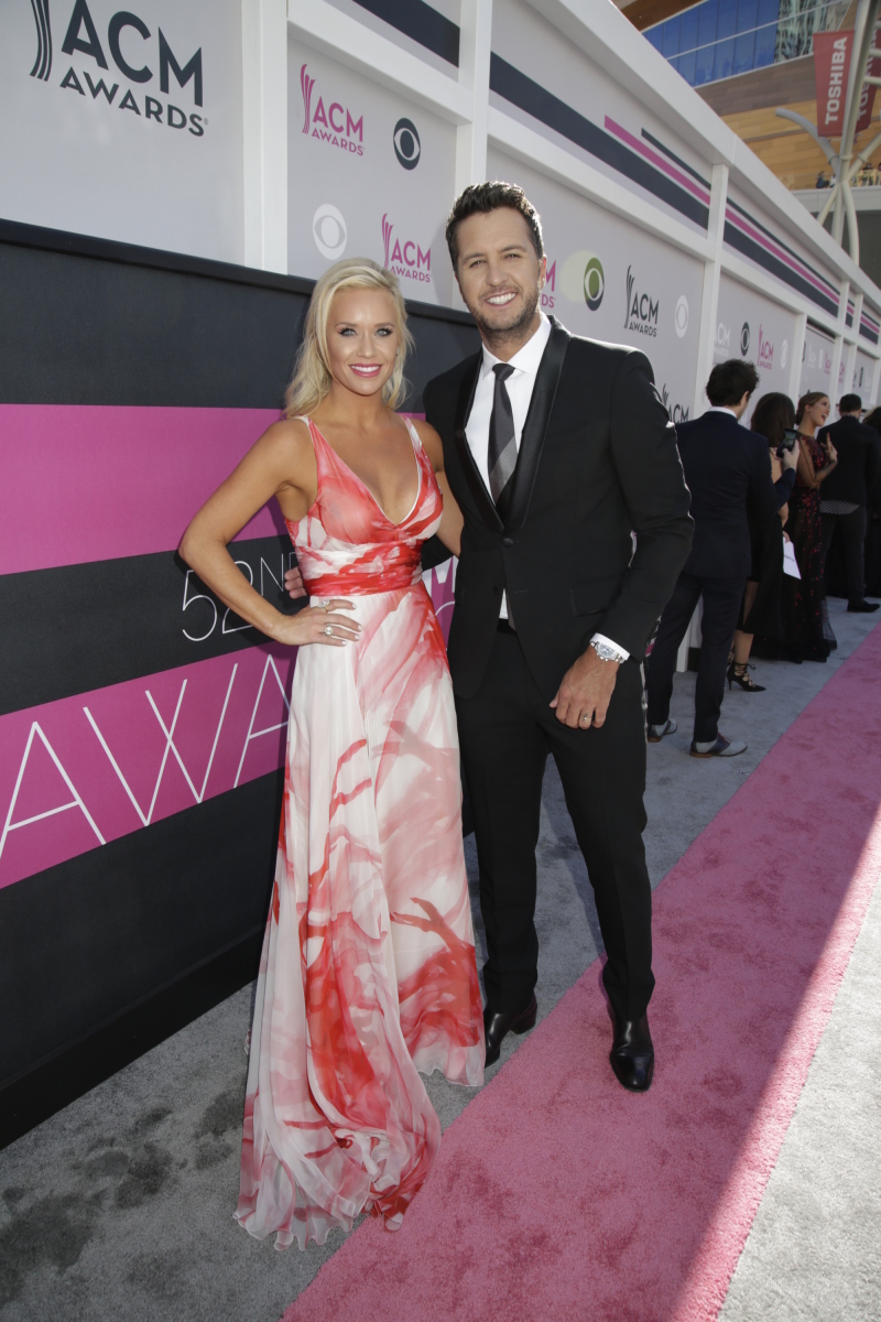 Luke Bryan and wife Caroline on the red carpet at THE 52ND ACADEMY OF COUNTRY MUSIC AWARDS®, broadcast LIVE from T-Mobile Arena in Las Vegas Sunday, April 2 (live 8:00-11:00 PM, ET/delayed PT) on the CBS Television Network. Photo: Francis Specker/CBS ©2017 CBS Broadcasting, Inc. All Rights Reserved
