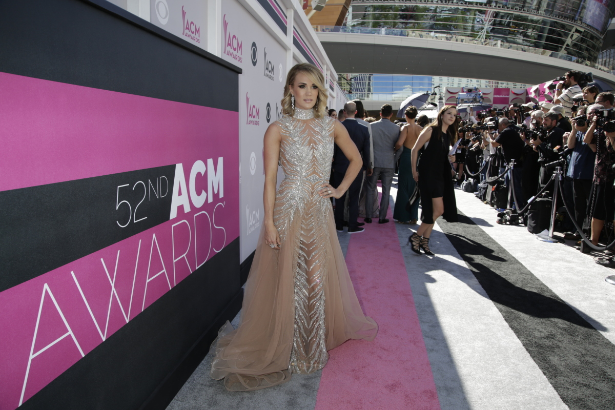 Carrie Underwood on the red carpet at THE 52ND ACADEMY OF COUNTRY MUSIC AWARDS®, broadcast LIVE from T-Mobile Arena in Las Vegas Sunday, April 2 (live 8:00-11:00 PM, ET/delayed PT) on the CBS Television Network. Photo: Francis Specker/CBS ©2017 CBS Broadcasting, Inc. All Rights Reserved