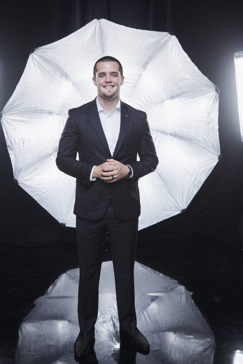 Derek Carr poses for a photograph at the photo booth THE 52ND ACADEMY OF COUNTRY MUSIC AWARDS®, broadcast LIVE from T-Mobile Arena in Las Vegas Sunday, April 2 (8:00-11:00 PM, live ET/delayed PT) on the CBS Television Network. Photo: Monty Brinton/CBS ©2017 CBS Broadcasting, Inc. All Rights Reserved