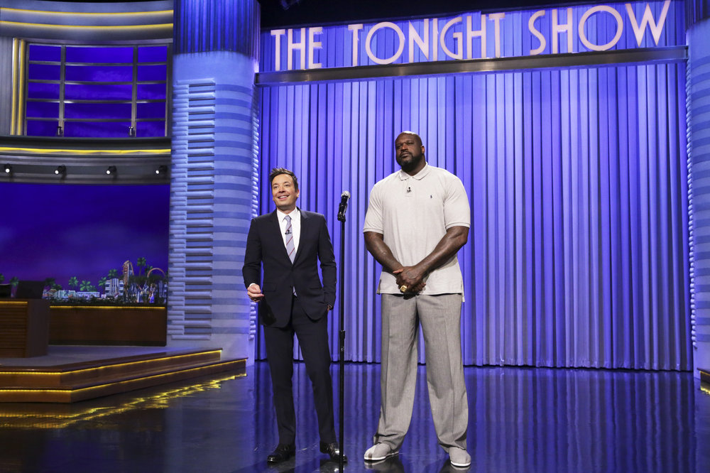 THE TONIGHT SHOW STARRING JIMMY FALLON -- Episode 0651 -- Pictured: (l-r) Host Jimmy Fallon and basketball player Shaquille O'Neal during Lip Sync Battle on April 3, 2017 -- (Photo by: Andrew Lipovsky/NBC)